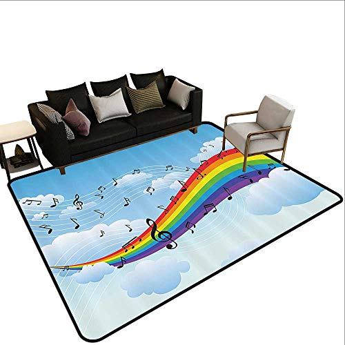 Non-Slip Rug Music Decor Collection Rainbow with Music Notes Cloudscape Cartoon Fun Artwork Symphony Sky Picture Super Absorbs Mud5'3 x7'10 Blue Red Yellow ()
