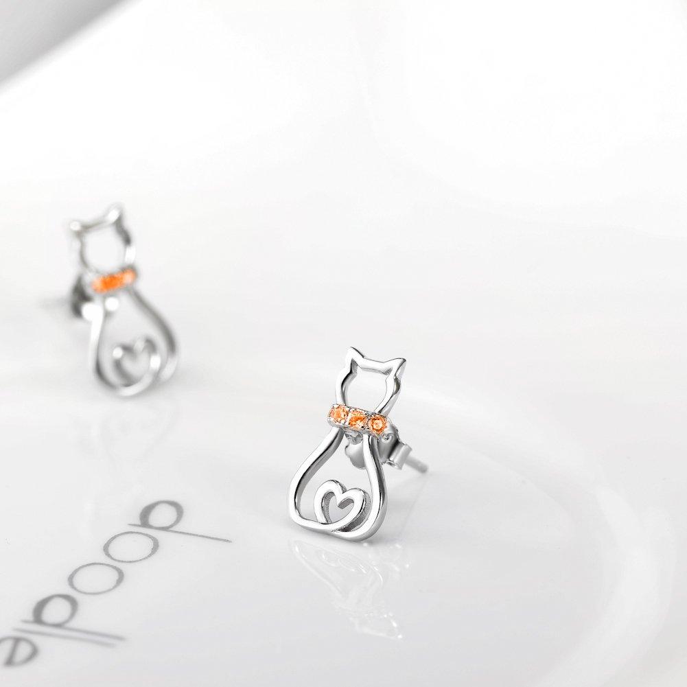 Cat Stud Earrings for Women Girls Sterling Silver Mini Pet Cats Earrings Jewelry Studs