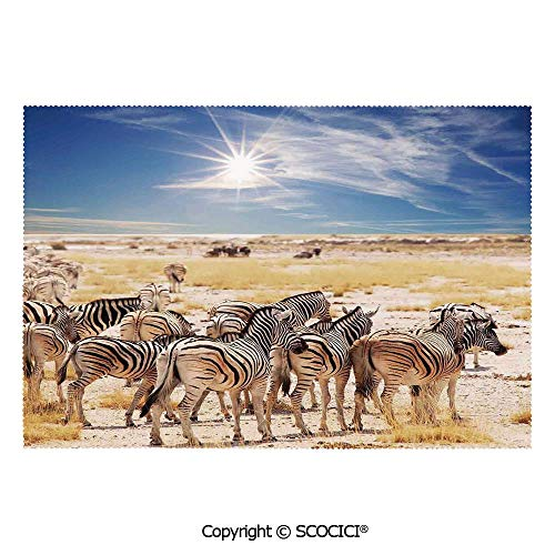 SCOCICI Washable,Non-Fading,Non-Stain,Wipe Clean,Dries Quickly Place mat in Savannah Desert Waterhole on Hot Day Africa Safari Adventure Land Print Prefect for Use in Holiday, Home Parties, Family Ga (Best Bbq Restaurant In Savannah Ga)