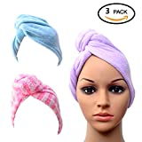 Dry Hair Towel Wrap Turban Dry Hair Cap for Bath Spa Soft Towel Reduce Hair Drying Time 3 Pack By SMYLLS