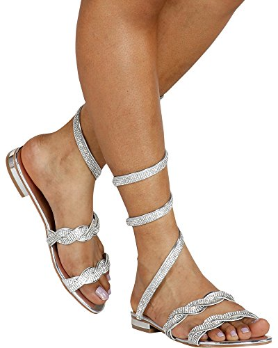 Italina Women's Dolled UP Spiral Ankle Wrap Sandals (Available In 2 Colors),Silver,10 (Rhinestone Ankle Strap Sandal)