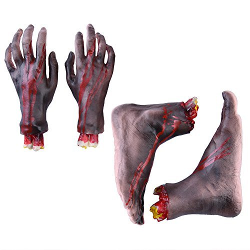Vbiger Halloween Severed Hands Feet Set Cut Off Legs and Hands Set Scary Bloody Broken Body Parts Halloween Prank Props Decorations, 4 Pieces