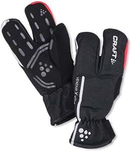 Craft Siberian Split Finger Wind & Waterproof Bike Gloves, Black/Bright Red, XX-Small
