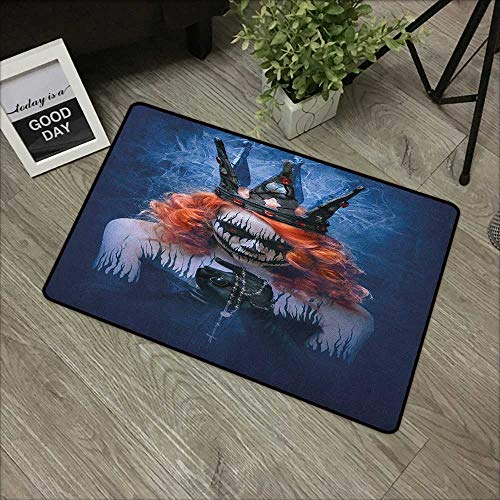 Learning pad W19 x L31 INCH Queen,Queen of Death Scary Body Art Halloween Evil Face Bizarre Make Up Zombie, Navy Blue Orange Black Our bottom is non-slip and will not let the baby slip,Door Mat Carpet
