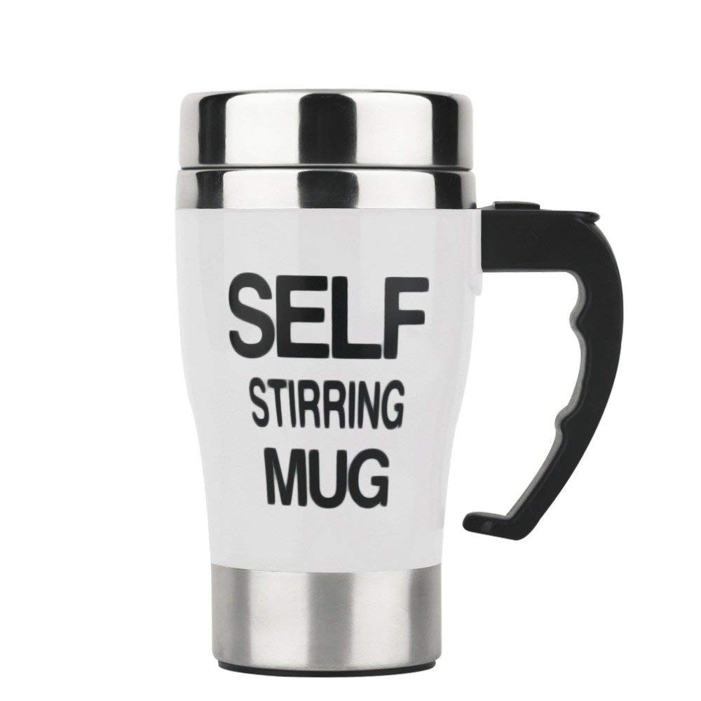 Self Stirring Coffee Mug, Stainless Steel Automatic Mixing and Spinning Coffee Mug Cup Portable Lazy Tea Coffee Cup Perfect for Travel Office Home (White)