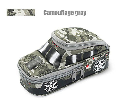 Creative Pencil Case High Capacity Pencil Pouch Durable Students Stationery Organizer Bag Camouflage with Double Zipper Password Lock Off-Road Car Gray
