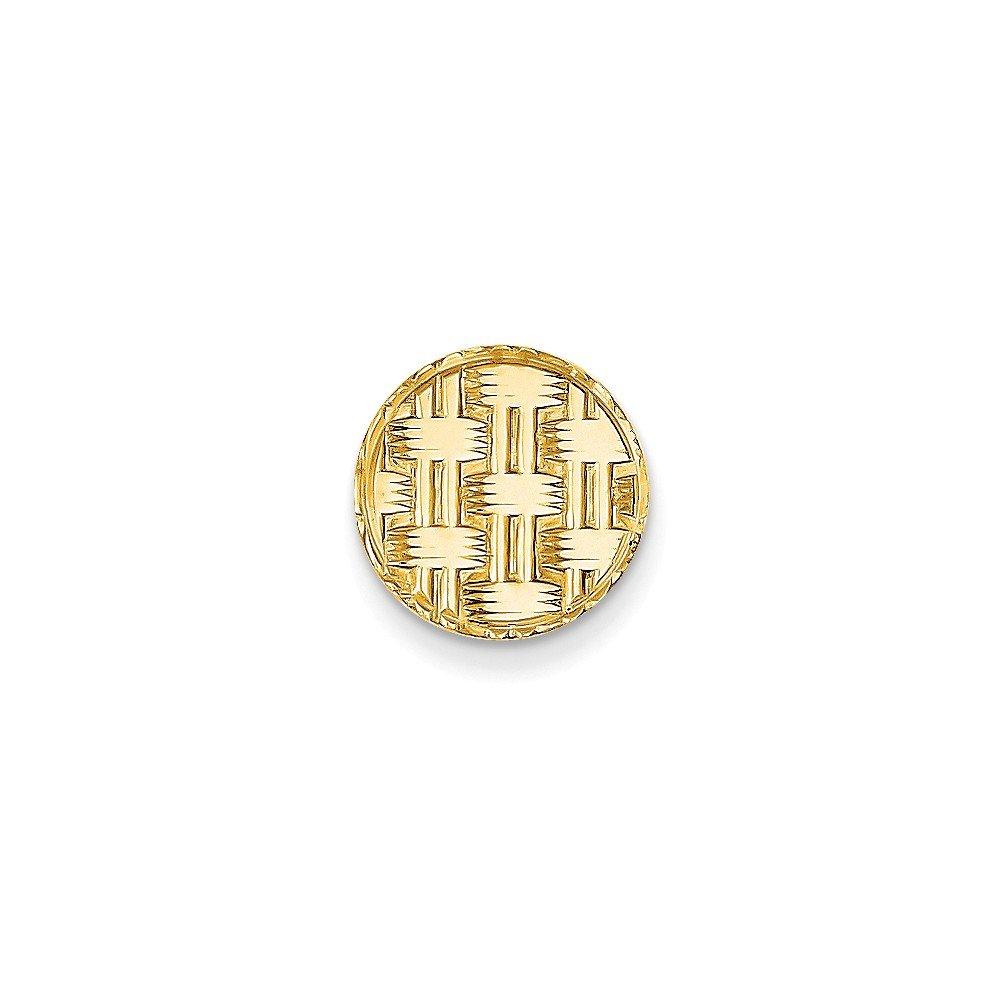 14K Yellow Gold Circular Tie Tac with Basketweave Design