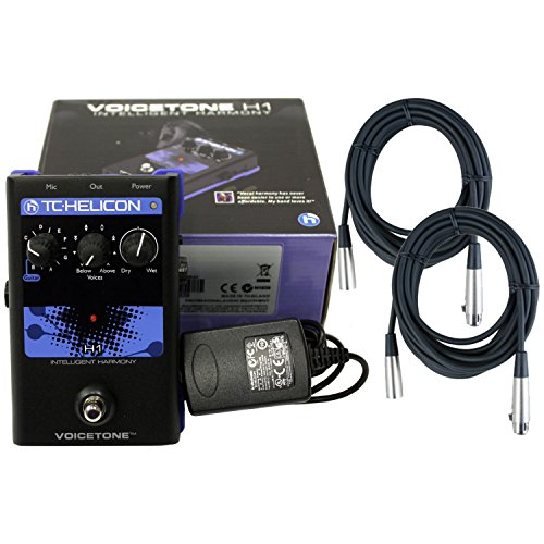 TC-Helicon VoiceTone H1 Vocal Harmony Effect Pedal w/Power Supply, 2 Free 20' XLR Cables by TC Electronic