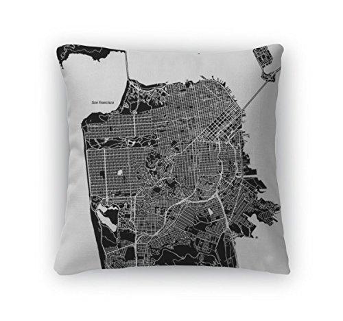 - Gear New Throw Pillow Accent Decor, San Francisco California Downtown Map, 20
