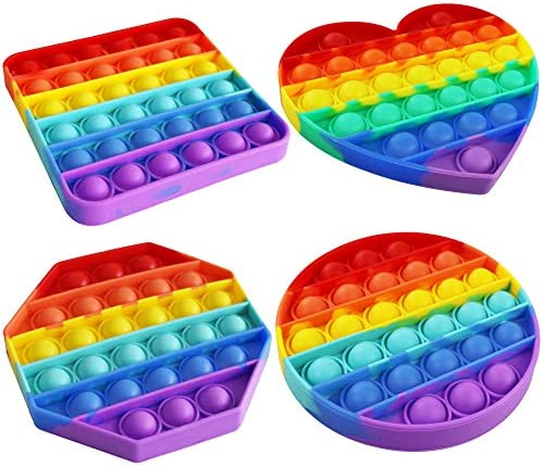Push Bubble Sensory Fidget Toy, Autism Special Needs Stress Reliever Silicone Stress Reliever Toy Rainbow Color 4 Pack