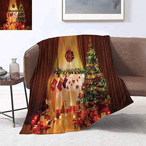 jecycleus Christmas Commercial Grade Printed Blanket New Year in The House with Various Objects in Peaceful Place Photography Print Queen King W70 by L84 Inch Multicolor