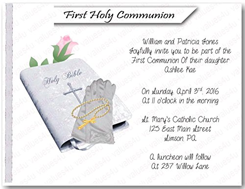 (Personalized Communion Invitations (communion girl1005) (sold in packs of 12))
