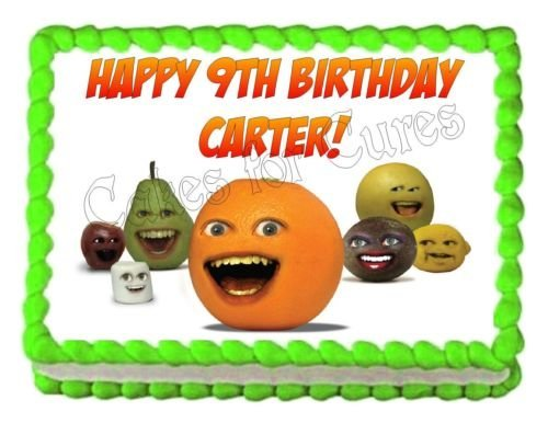 ANNOYING ORANGE edible party cake decoration topper cake image sheet