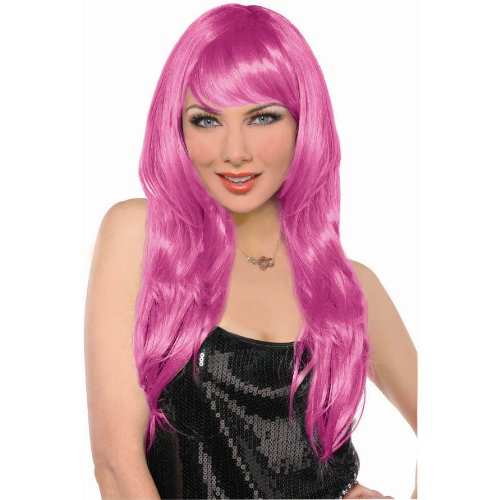 Party Perfect Team Spirit Glam Long Wig Accessory, Pink, Synthetic Hair , 25