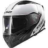 LS2 Helmets Metro Rapid Modular Motorcycle Helmet with Sunshield (White/Black, Large)
