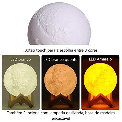 a3ab21e9c Umidificador de ar ultrassônico, difusor de aromas e luminária de mesa  880ml Lua USB e LED 3 cores: Amazon.com.br: Casa