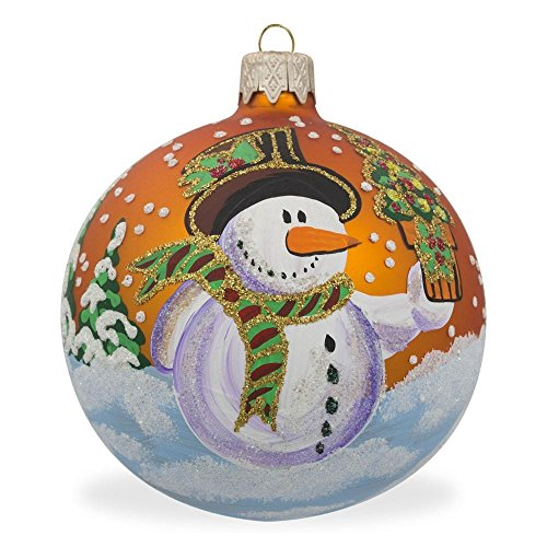 (BestPysanky Snowman with Gift Glass Ball Christmas Ornament 3.25 Inches)