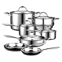 CSD 12-Piece Cookware Set, Multi-Ply Clad Stainless-Steel, stainless steel with a multi-element aluminum core, Riveted for strength, Induction compatible, Dishwasher safe.
