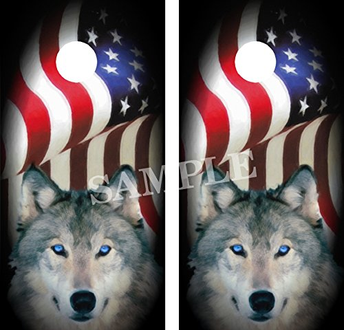 Amer Flag - Wolf Cornhole Board Wraps Vinyl Graphics Decals ()