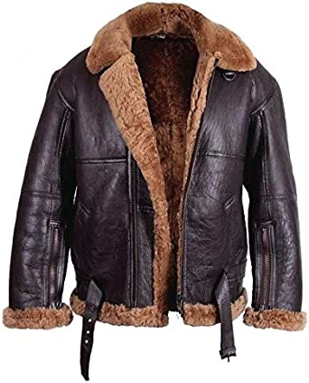 Men B3 Bomber Jacket Aviator Real Shearling B3 Bomber Sheepskin Jacket Winter Black