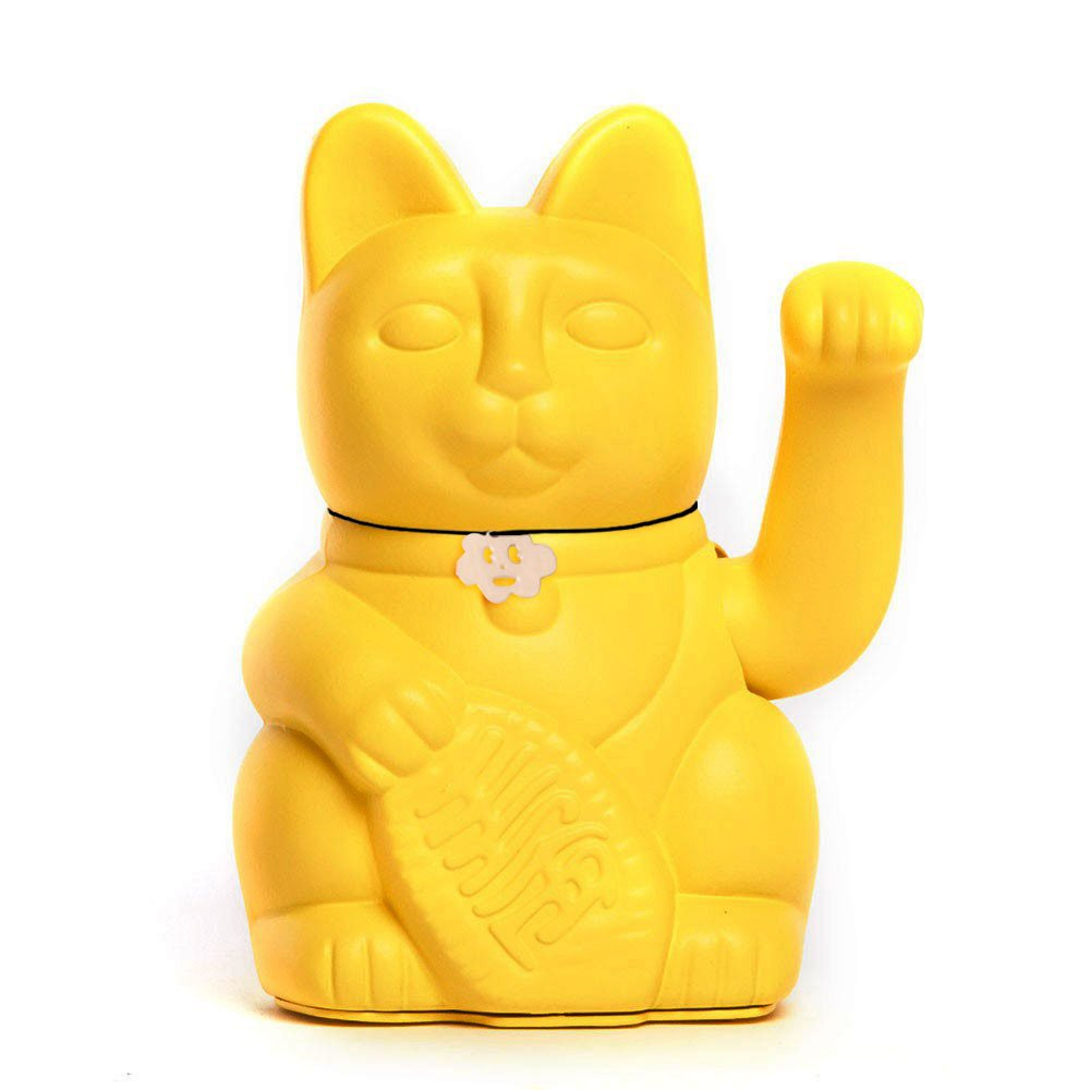Gatete. El clá sico Gato de la Suerte o la Fortuna o Maneki-Neko en divertidos colores. AMARILLO LIMÓ N: \'El dinero viene.\' 12x9x18cm
