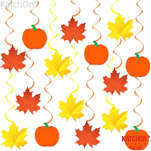 Autumn Hanging Swirls Thanksgiving Decorations - Pack of 35, Pumpkin and Maple Leaf Fall Themed Decorations Supplies | No DIY Required | Great for Birthday Party, Outdoor Garden, Home Office Decor Kit