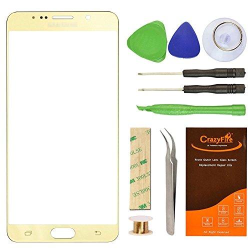 CrazyFire For Samsung Galaxy Note 5 Screen Glass Lens Replacement, Repair Kit for Samsung Galaxy Note5 N9200 N920A N920P N920T N920R N920R4 with Adhesive and Tools (Gold)