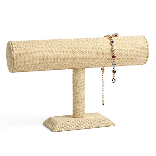 New Wayzon Linen Bracelet Organizer T-Bar Jewelry Display Bangle Tower Watch Holder Orgnaizer