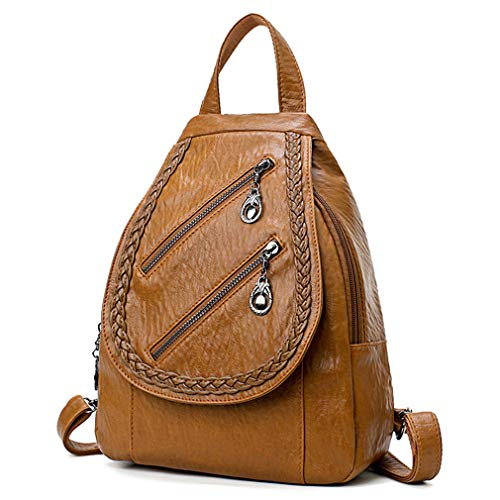 Travelling Brown Double Back Sac Bags Dos Packs Leather Soft Zipper A Knitted Pu Milkate 6fUSx