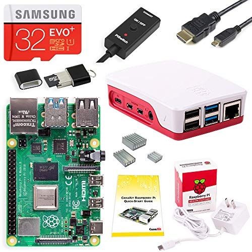 CanaKit Raspberry Pi 4 Starter Kit (32GB EVO+ Edition, Official Case) - 4GB - Raspberry Large