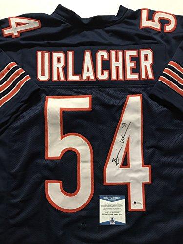 Autographed/Signed Brian Urlacher Chicago Bears Blue Football Jersey Beckett BAS COA - Brian Urlacher Autographed Jersey