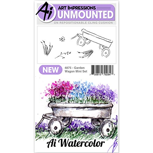 Art Impressions Watercolor Cling Rubber Stamp Mini Garden Wagon by Art Impressions