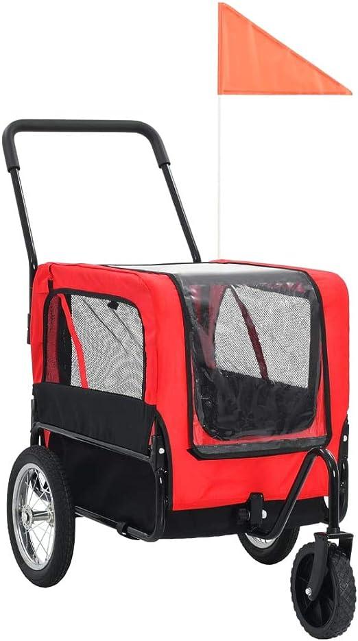 vidaXL Remolque Bicicleta Perros Impermeable Plegable Ventilación ...