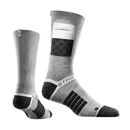 Strideline Utility Running Socks, The Grid, Grey, One Size (Grid Mid Calf Socks)