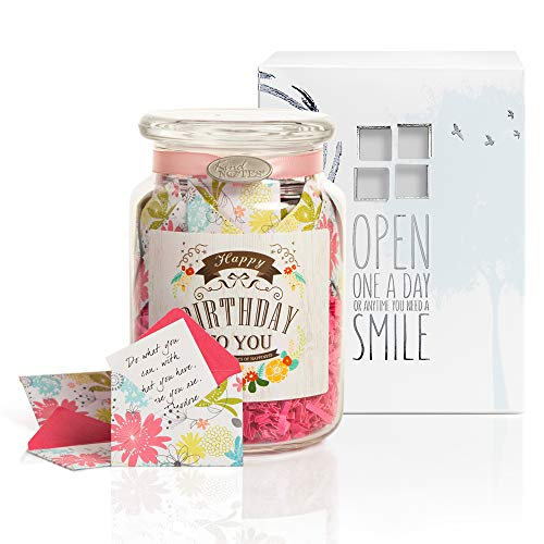 KindNotes Glass Keepsake Gift Jar with Inspirational Messages - Refreshing Floral Vintage Birthday