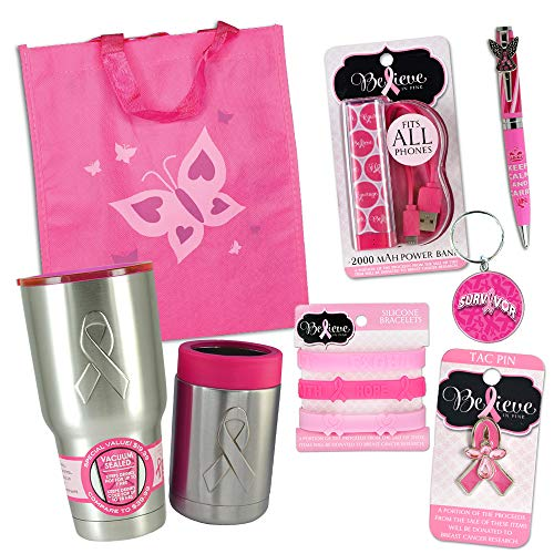 8-Piece Breast Cancer Awareness Month Pink Gift Bag Bundle - Includes Power Bank, Bracelets, Keychain, Pen, Travel Mug, Can Insulator, Pin and Tote Bag -