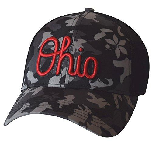 J America NCAA Ohio State Buckeyes Men's Camo Script Structured Mesh Snapback Cap, One Size, Black
