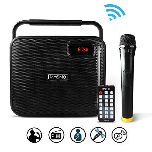 "MAONO PK-08 PA System with Wireless Microphone Karaoke Machine, Portable Rechargeable 20W Bluetooth Party Speaker for Adults Kids Mobile APP with FM Radio, LED Light, 1X6.5"" Woofer (BLACK)"