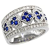 Sterling Silver Vintage Style Blue Sapphire Cubic Zirconia Cigar Band Ring Hearts & Diamonds, size 8