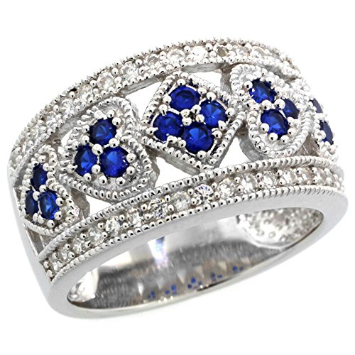- Sterling Silver Vintage Style Blue Sapphire Cubic Zirconia Cigar Band Ring Hearts & Diamonds, size 8