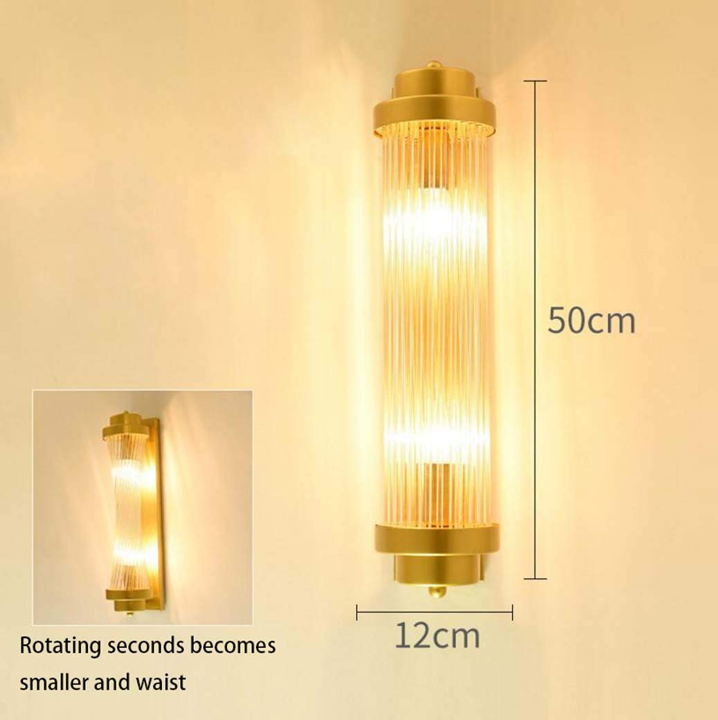 Modern Creative Gold Glass Rod Wall Light With E14 Screw,Bedroom Bedside Lamp TV Background Wall Sconces 12 Yd/&hLED Wall Lamp 50cm