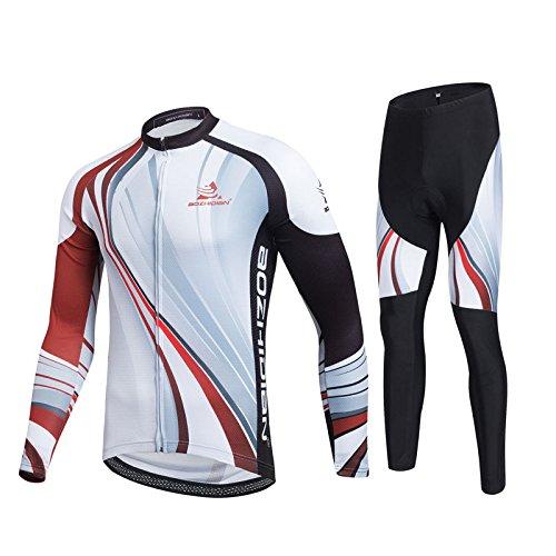 Uriah Men 's Thermal Fleece Cycling Jersey Long Sleeve and 3dジェルパッド入りパンツセット B075FSBY1Y XL(CN)|ブラックレッド ブラックレッド XL(CN)