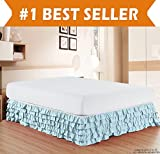 How Long Is a California King Bed Elegant Comfort Luxurious Premium Quality 1500 Thread Count Wrinkle and Fade Resistant Egyptian Quality Microfiber Multi-Ruffle Bed Skirt - 15inch Drop, California King, Aqua Blue