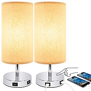 Touch Table Lamp, USB Table Lamp Set of 2, Desk Nightstand Light with Dual USB Ports, 3 Way Dimmable Touch Lamps for Living Room Bedroom Kitchen Office, Led Bulb Included