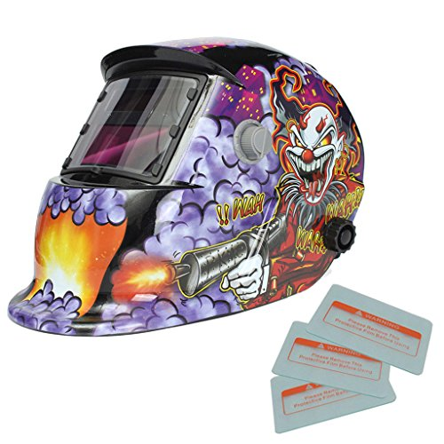 kesoto Various Welding Helmet Solar Auto-darkening for Mig Tig Arc WeldER Grinding Applique Welding Mask Head Protection - Crazy Clown