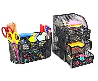 PAG Office Supplies Mesh Desk Organizer Desktop Pen Holder Accessories Storage Caddy with Drawer