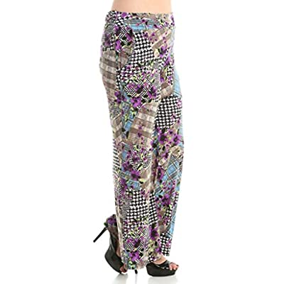 Stylzoo Women's Plus Size Printed Stretchy Comfy Palazzo Pants Mosaic 3X at Women's Clothing store