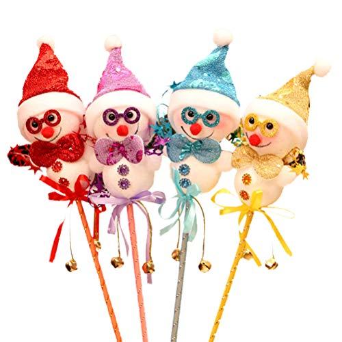 HEALIFTY 2本の子供のおもちゃクリスマスハンドヘルドマジックスティックかわいい雪だるま人形マジックワンドおもちゃパーティーの小道具(ランダムカラー)