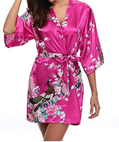 moco BFF Women's Satin Kimono Robe Sleepwear For Ladies, Peacock & Blossoms Design Short Satin Silk Nightgown (Pink) (Pink Nightgown Silk)