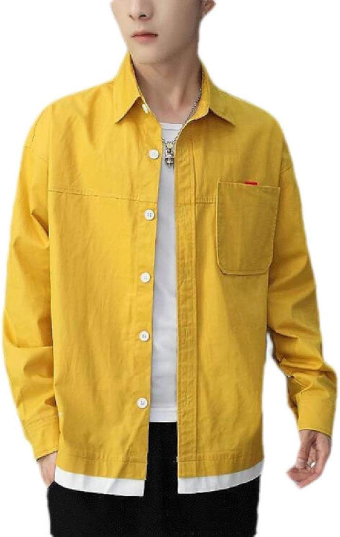 pujingge Mens Oversized Button Down Shirt Cotton Long Sleeve Casual Tops